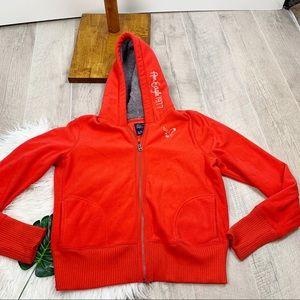 American Eagle Red Hooded Zip Fleece Sweatshirt